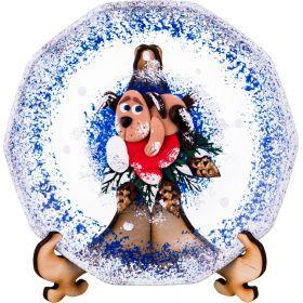 Тарелка стеклянная декоративная на подставке диаметр 150. рисунок: символ года: собака на варежке на-135-5253