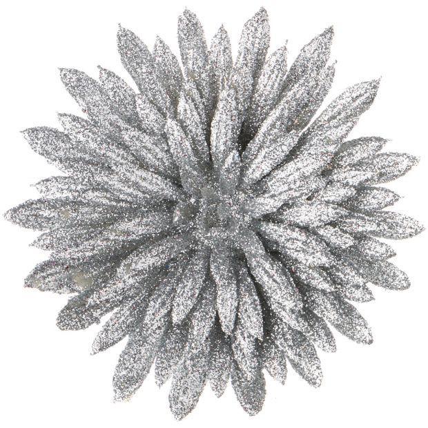 """Изделие декоративное """"астра"""" на клипсе. серебро диаметр=8 см.-241-2480"""