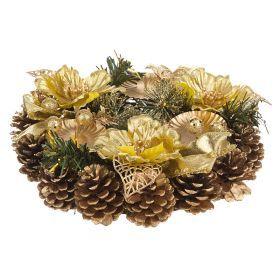 Подсвечник золотой декорированный на 3 свечи  диаметр=23 см-161-138