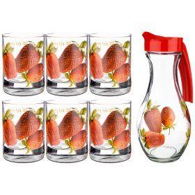 Набор: кувшин шар 1 л + 6 стаканов 200 мл. высота=24/9,5 см.   (кор=3набор.)-381-1034