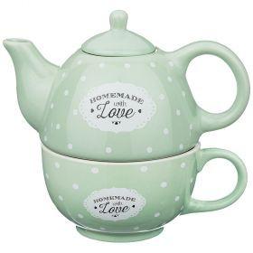 Набор 2 пр. чайник объем 330 мл и чашка объем 280 мл  16*10*14,5 см-155-219