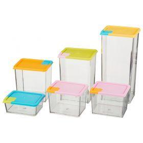 Набор контейнеров из 6 шт. 10*8*21/10*8*7/10*8*4/10*8*15/10*8*11/10*8*7 см.-712-285