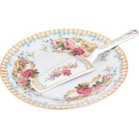 Блюдо для торта с лопаткой диаметр=23 см.-389-434
