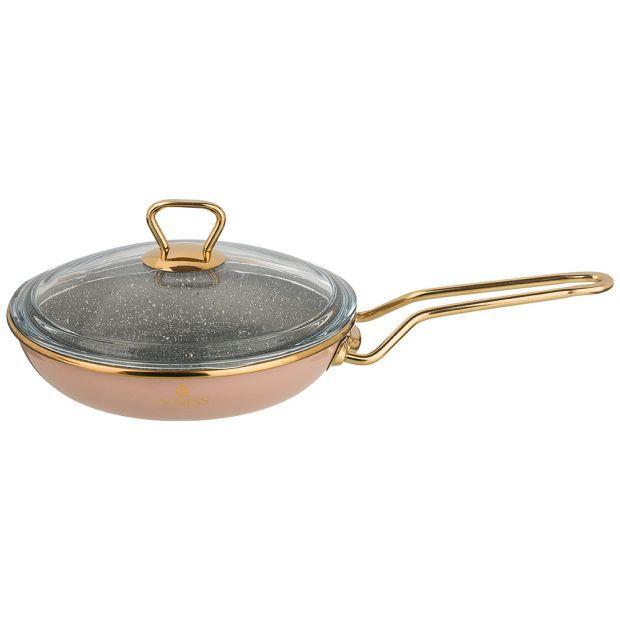 """Сковорода agness эмалированная со стекл. крышкой и антипригар. """"мраморным"""" покрытием, 20см-950-276"""