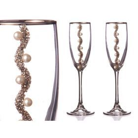 Набор бокалов для шампанского из 2 шт. с серебряной каймой 170 мл.