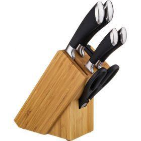Набор ножей 6 пр.нжс на деревянной подставке с ножеточкой и ножницами-911-018