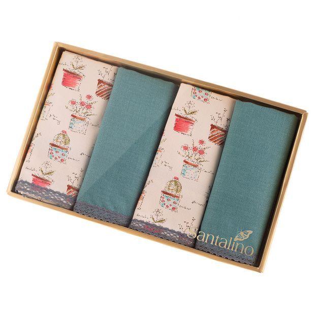 """Набор салфеток из 4-х шт 40х40, """"амели"""",х/б 100%,бирюза+цветы,кружево-850-603-57"""