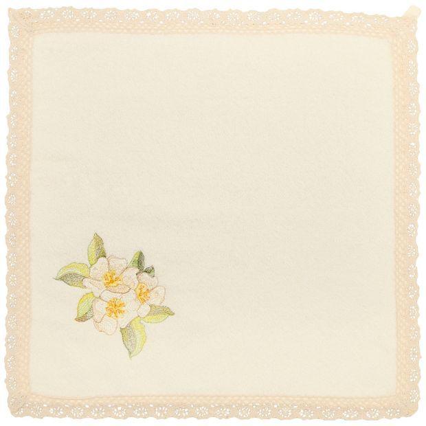 """Салфетка махровая """"полевые цветы"""" 40х40см, 100% хлопок, цвет в ассорт, вышивка, кружево-850-600-65"""