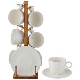 Чайный набор на 6 персон 12 пр. на деревянной подставке объем чашки= 250 мл-235-112
