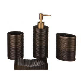 Набор для ванной комнаты 4 пр.:дозатор+подставка для мыла, подставка для зубных щеток,стакан (кор=6н-765-502