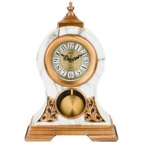 Часы настольные кварцевые с маятником цвет: белые с золотом 26*10*37 см (кор=8шт.) циферблат 11 см-204-249