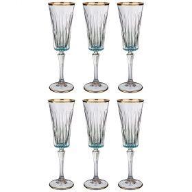 Набор бокалов для шампанского из 6 шт. 180 мл. высота=24 см.-103-586