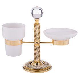 Набор для ванной: мыльница и подставка для зубных щеток 25*12 см. высота=21 см.-661-045