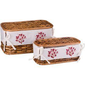 Набор корзин для белья с крышкой и чехлом из 2 шт.17*33*20/11*28*15 см. без упаковки-131-245