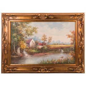Картина масляная на холсте 89*59 см. багет 113*85 см.-107-1065
