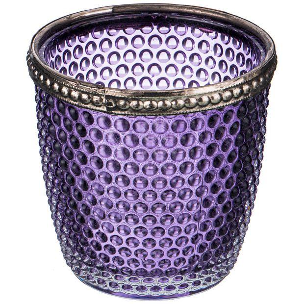 Подсвечник с металл.элементами, д=7,5см, в=7,5см, фиолетовый (кор=36шт.)-132-047