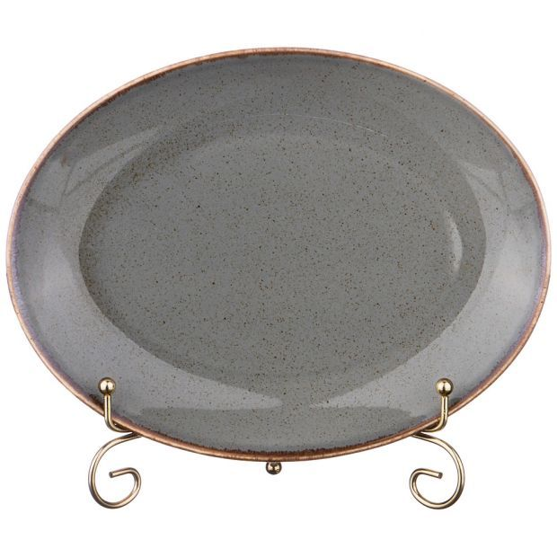 Тарелка seasons 24*18,5 см овальная цвет темно-серый (кор=12шт.)-664-181