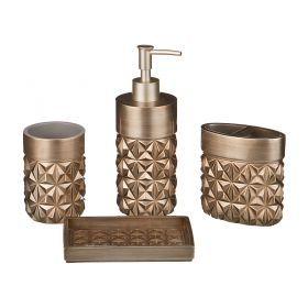 Набор для ванной комнаты 4 пр.:дозатор+подставка для мыла, подставка для зубных щеток,стакан (кор=6н-765-501
