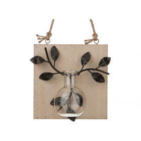 Декоративное изделие с вазочкой настенное 11,5*6*11,5 см.-222-310