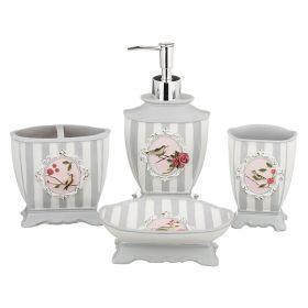 Набор для ванной комнаты 4 пр.:дозатор+подставка для мыла, подставка для зубных щеток,стакан (кор=6н-765-514