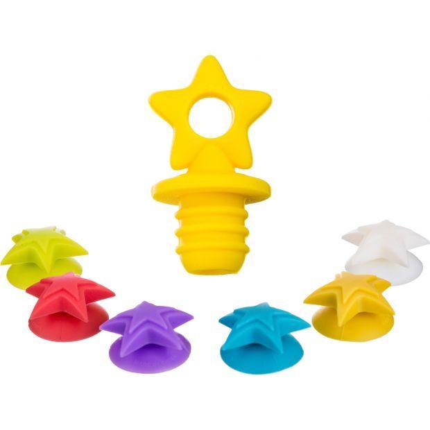 Силиконовая пробка для бутылки+6 маркеров для бокалов высота=6 см.диаметр=3 см.(мал-24/кор=144набор.-710-342