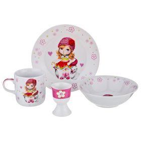 Наборы посуды на 1 персону 4пр.:миска, тарелка, кружка 200 мл, подставка под яйцо-87-158
