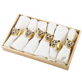 Набор салфеток из 6шт с кольцами 45х45см, 100% п/э,шампань,жаккард-850-834-34
