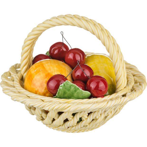 """Изделие декоративное """"корзина с фруктами"""" диаметр=19 см. высота=16 см.-335-092"""