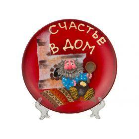 Тарелка декоративная с подставкой домовенок ручная лепка, диаметр=20 см.