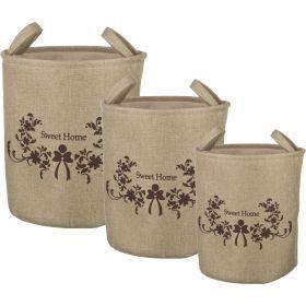 Набор корзин для белья с ручками и завязками из 3-х шт l: ф40*42/m:ф36*39/s:ф32*37 см.