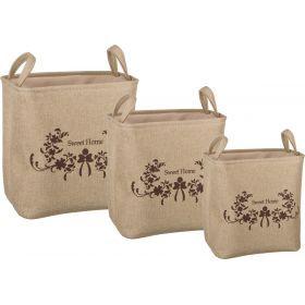 Набор корзин для белья с ручками и завязками из 3-х шт l: 43*34*42/m:39*30*39/s:35*26*37 см.