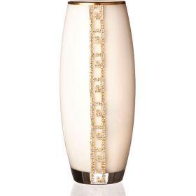Ваза белая с золотой каймой высота=26 см-802-165712