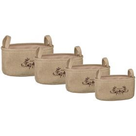 Набор корзинок для хранения с ручками из 4-х шт. l:36*26*18/m:32*22*16/s:28*18*14/xs:24*14*12 см.