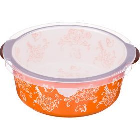 Блюдо для запекания с пластиковой крышкой 20*19 см. высота=7 см.-536-183