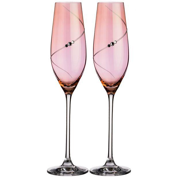 """Набор бокалов для шампанского из 2 штук """"силуэт"""" pink 220 мл-681-113"""