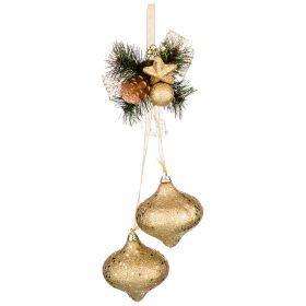 Декоративное изделие подвеска золотая 32 см без упаковки (кор=96 шт.)-161-184
