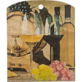 Доска кухонная прямоугольная с полуовалом фанера береза 25*21 см.-430-154
