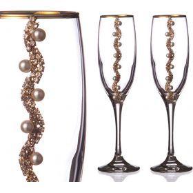 Набор бокалов для шампанского из 2 шт. с золотой каймой 170 мл.-802-510151