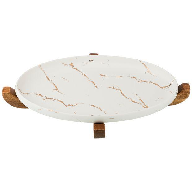"""Блюдо для сервировки на деревянной подставке коллекция """"золотой мрамор"""" цвет: white 30,8*18,7*3 см-412-128"""
