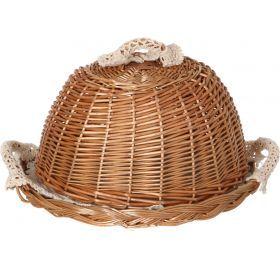 Хлебница с крышкой круглая в комплект входит салфетка диаметр=30 см.-119-206