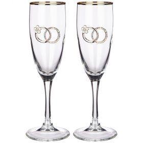 Набор бокалов для шампанского из 2 шт. с золотой каймой 170 мл.-802-510632