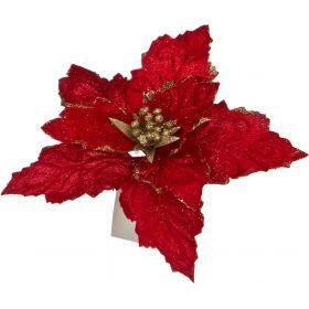 Цветок искусственный пуансетия диаметр=22см на клипсе