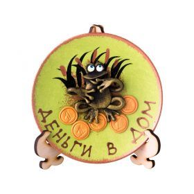 Тарелка декоративная денежная лягушка на зеленом фоне диаметр=13 см-135-5000