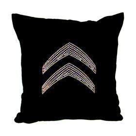 Декоративная подушка 35*35 стразы, бархат, х/ф, черный-703-364-1