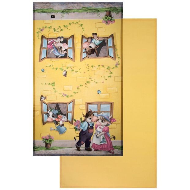 """Набор полотенец из 2-х шт """"свидание"""",40х70см,жёлтый, 100% хлопок,твил-850-723-61"""
