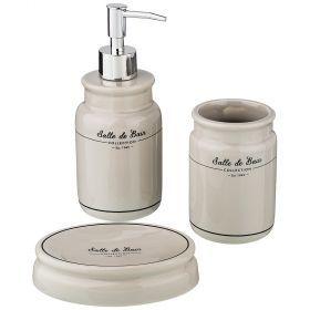 Набор для ванной комнаты, 3 пр. (дозатор=300мл, стакан=300мл, мыльница=13*9*3см)-791-093