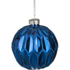 Декоративное изделие шар стеклянный диаметр=8 см. высота=9 см. цвет: синий-862-065