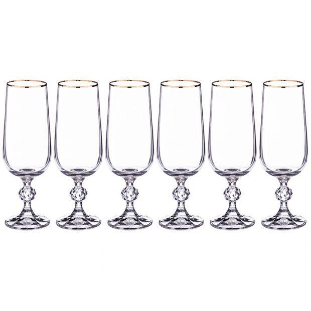 """Набор бокалов для шампанского из 6 шт. """"клаудия"""" 180 мл. высота=17 см.-669-212"""