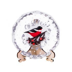 Тарелка стеклянная декоративная на подставке диаметр=15 см. рисунок: снигери на рябине, ручная работ-135-5255