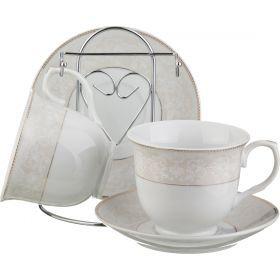 Чайный набор на 2 персоны 4пр. 250 мл. на метал.подставке (кор=18набор.)-389-268